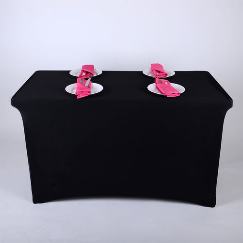 Black - 8 Ft Spandex Rectangular Table Cover
