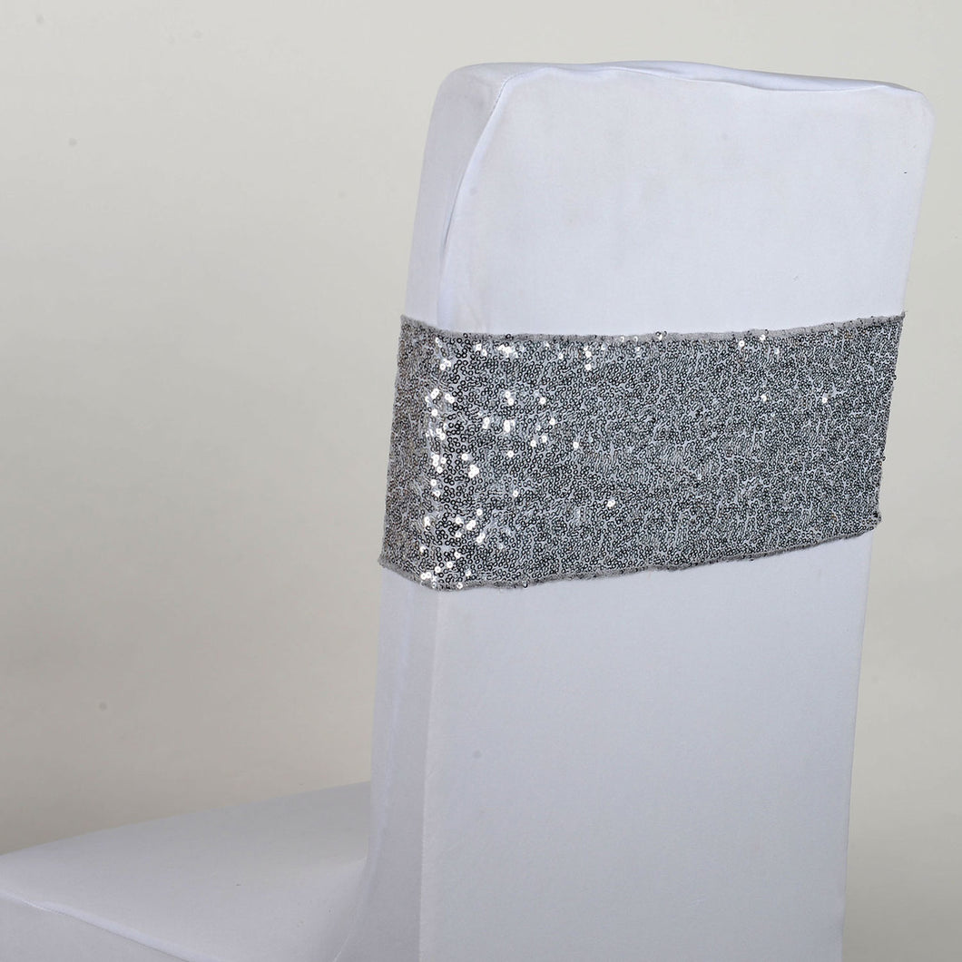 Sequin Chair Sash - Silver  5 pieces