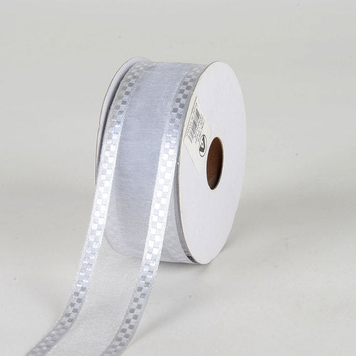 Silver - Organza Check Edge Ribbon - ( 1-1/2 inch | 25 Yards )