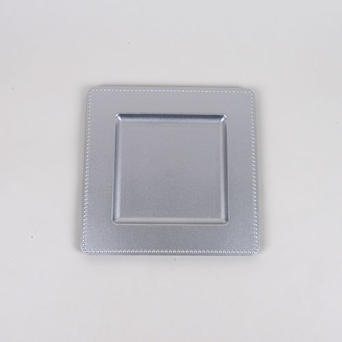 12''x12'' Silver Square Charger Plates - Pack of 6