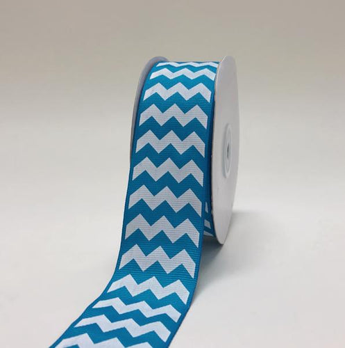 Turquoise - Chevron Design Grosgrain Ribbon ( 1-1/2 inch | 25 Yards )