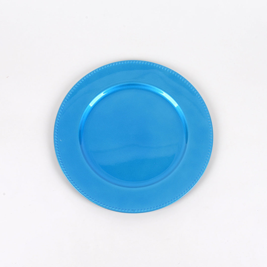 13'' Turquoise Round Charger Plates - Pack of 6