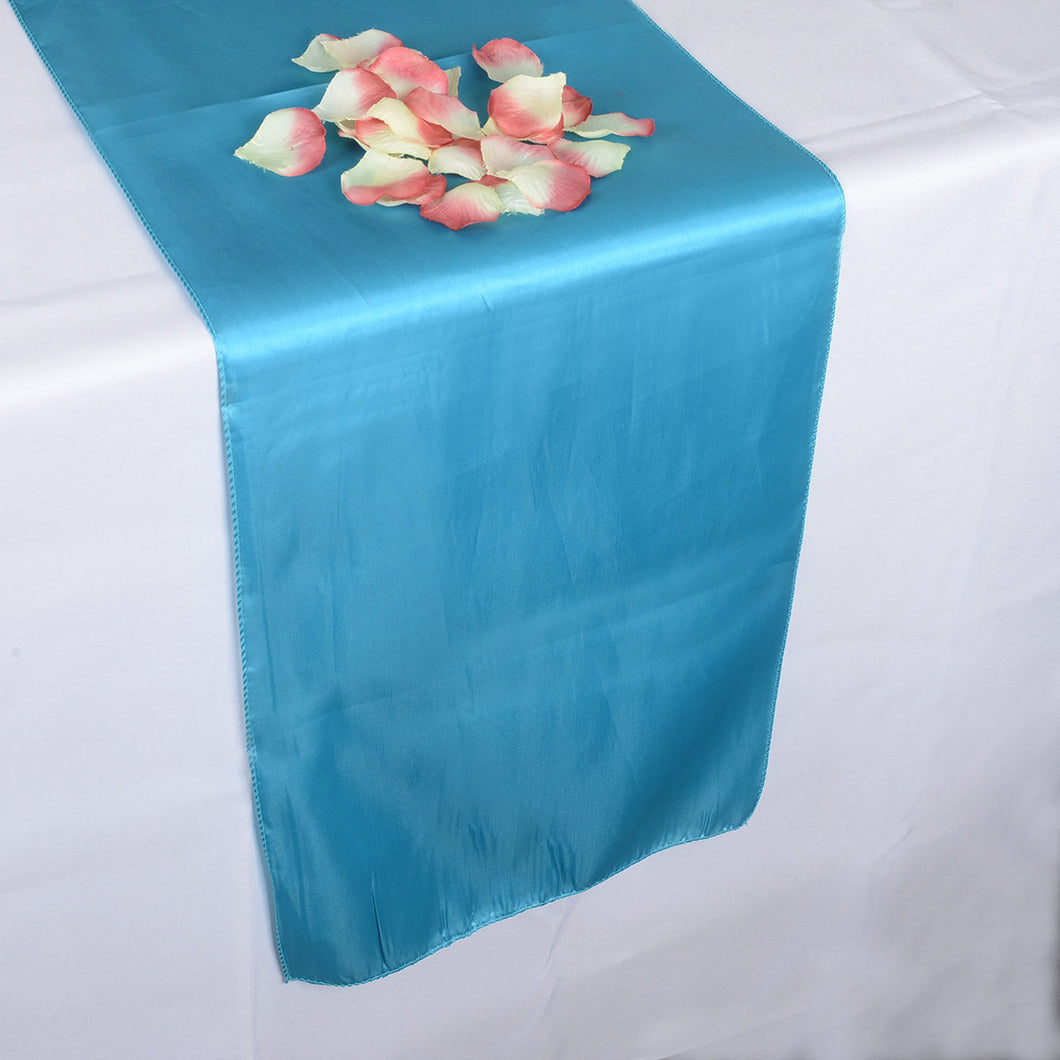 12 inch x 108 inches Turquoise Satin Table Runner