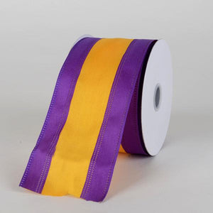 Satin Purple & Light Gold Colleges Wired Ribbon ( 2-1/2 Inch x 10 Yards )