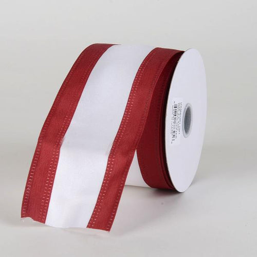 Satin Burgundy & White Colleges Wired Ribbon ( 2-1/2 Inch x 10 Yards )
