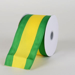 Satin Emerald & Yellow Colleges Wired Ribbon ( 2-1/2 Inch x 10 Yards )