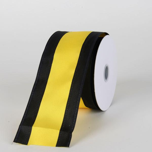 Satin Black & Yellow Colleges Wired Ribbon ( 2-1/2 Inch x 10 Yards )