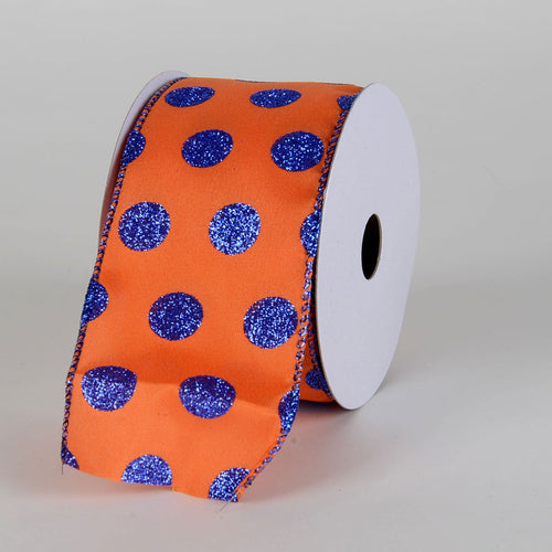 Satin Glitter Polka Dot Ribbon Wired  Orange with Royal Blue Dots ( W: 2-1/2 inch | L: 10 Yards )
