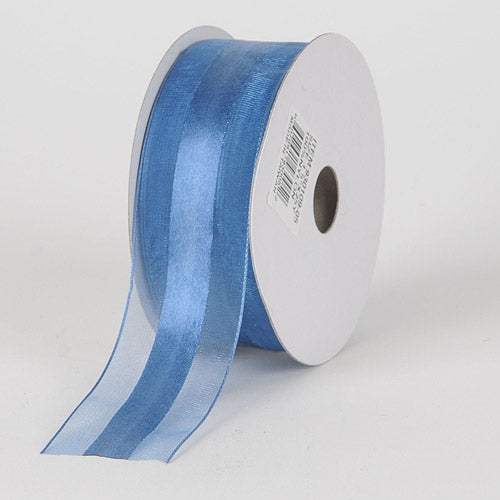 1.5 inch Smoke Blue Organza Ribbon Satin Center
