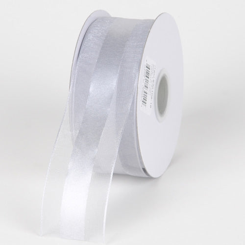 1.5 inch Silver Organza Ribbon Satin Center