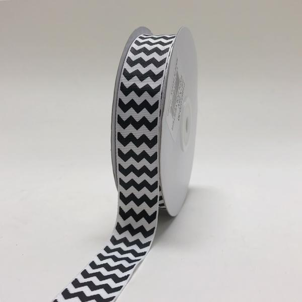 White Black - Chevron Design Grosgrain Ribbon ( 7/8 inch | 25 Yards )