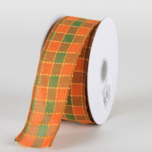 Green Orange Checkered Dashed Plaid Ribbon - (1.5''x10yds) - X81330919