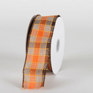 Orange Brown Checkered Dashed Plaid Ribbon - (1.5''x10yds) - X81330938