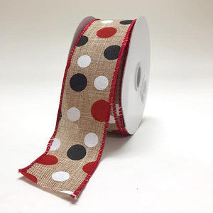 Spring Black White Red Color Dots Ribbon ( 1-1/2 Inch x 10 Yards ) - X81520921