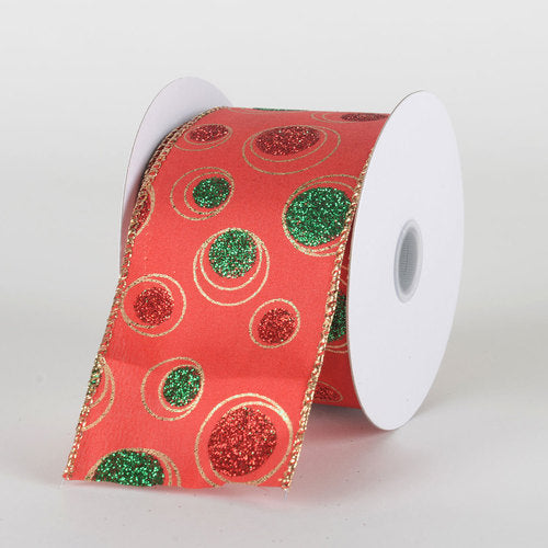 Red Satin Green Gold Bubble Dots Ribbon - (2.5''x10yds) - X81894017