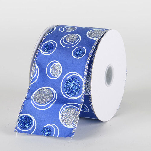 Royal Blue Satin Silver White Bubble Dots Ribbon  - (2.5''x10yds) - X81894025