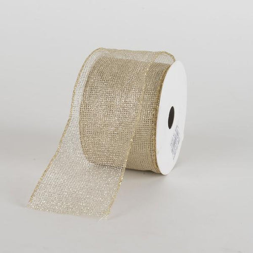 Champagne Glitter Net Ribbon ( 2-1/2 Inch x 10 Yards )