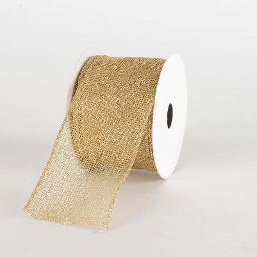 Gold Glitter Net Ribbon ( 2-1/2 Inch x 10 Yards )