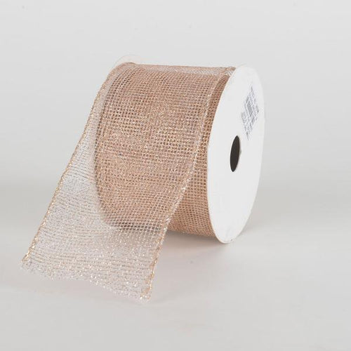Rose Gold Glitter Net Ribbon ( 2-1/2 Inch x 10 Yards )