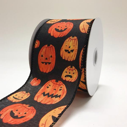 Halloween Jack O Lanterns Black Ribbon (2.5''x10yds) - X91104021