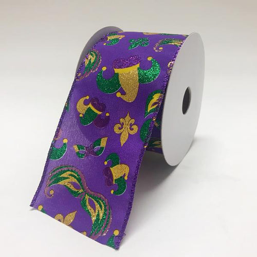 Mardi Gras Icons Ribbon - 2.5''x10yds - X94024017