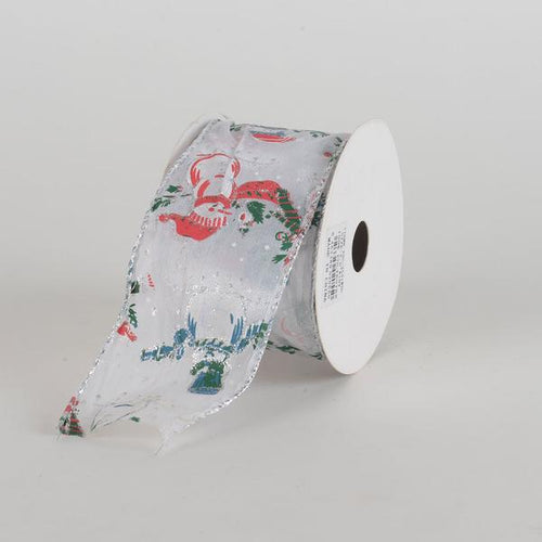 White Snowman Organza Ribbon ( 2-1/2 Inch x 10 Yards )
