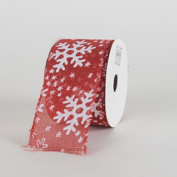 Red With White Snowflakes Burlap Wired Ribbon ( 2-1/2 Inch x 10 Yards )