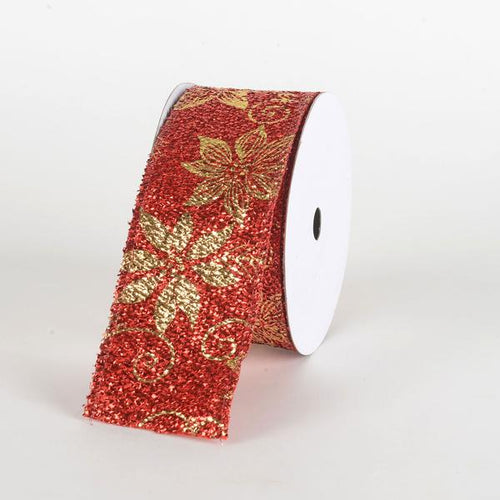 Red Metallic Gold Poinsettia Ribbon ( 2-1/2 Inch x 10 Yards )
