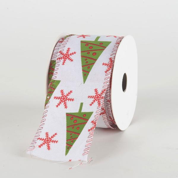 White Christmas Tree Ribbon ( 2-1/2 Inch x 10 Yards )