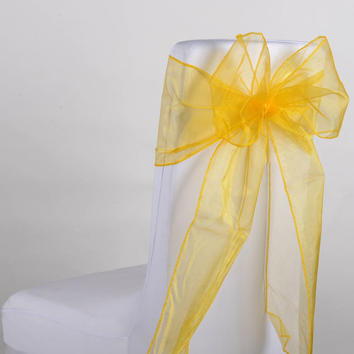 8 Inches x 108 Inches Light Gold Organza Chair Sash