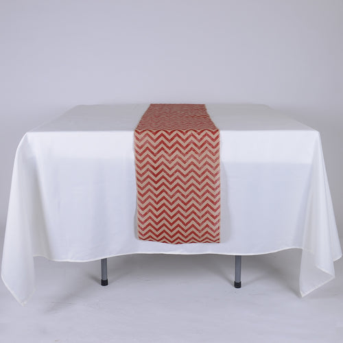 Red Chevron - Burlap Table Runner ( 14 inch x 108 inches )