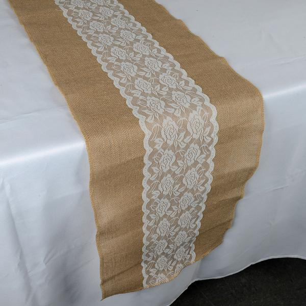 Calla Lili Center - Burlap Table Runner ( 14 inch x 108 inches )