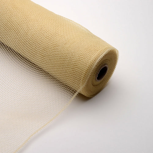 10 Inch x 10 Yards Tan Floral Mesh Wrap Solid Color
