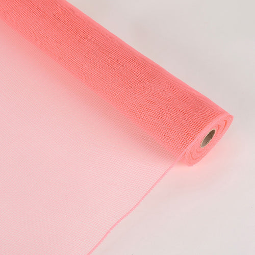 21 Inch x 10 Yards Coral Floral Mesh Wrap Solid Color