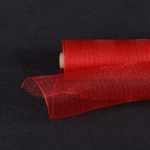 21 Inch x 10 Yards Red Deco Mesh Wrap Metallic Stripes