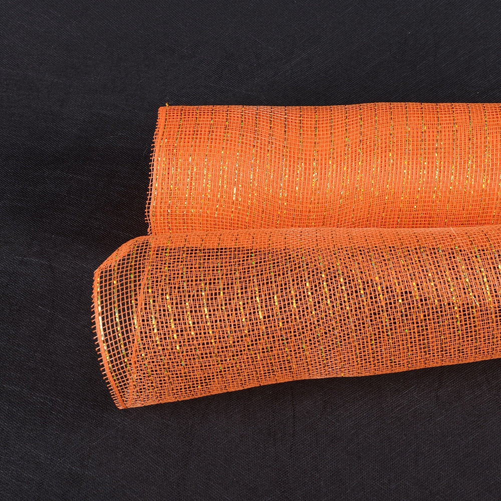 10 Inch x 10 Yards Orange Deco Mesh Wrap Metallic Stripes