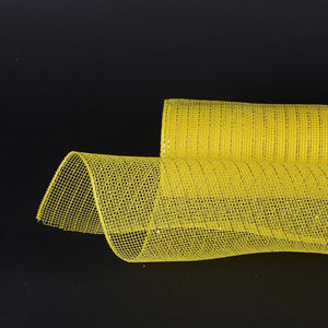 10 Inch x 10 Yards Yellow Deco Mesh Wrap Metallic Stripes