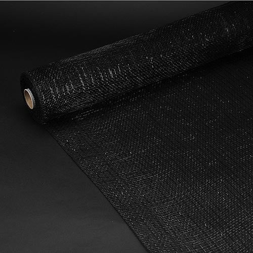 Black  - Deco Mesh Wrap Metallic Stripes ( 10 Inch x 10 Yards )
