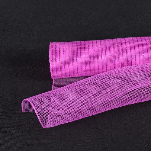 10 Inch x 10 Yards Fuchsia Deco Mesh Wrap Metallic Stripes