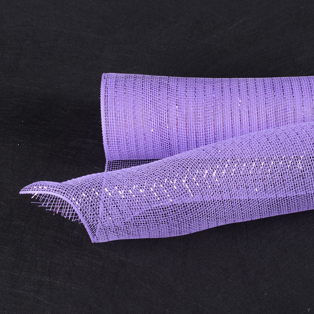 10 Inch x 10 Yards Lavender Deco Mesh Wrap Metallic Stripes