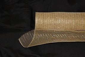 Tan - Deco Mesh Wrap Metallic Stripes -  ( 10 Inch x 10 Yards )