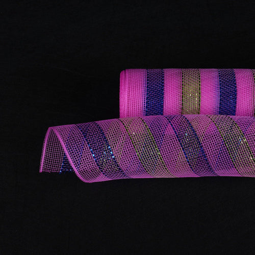 Fuchsia Blue Green - Multicolor Metallic Deco Mesh Wrap -  ( 21 Inch x 10 Yards )