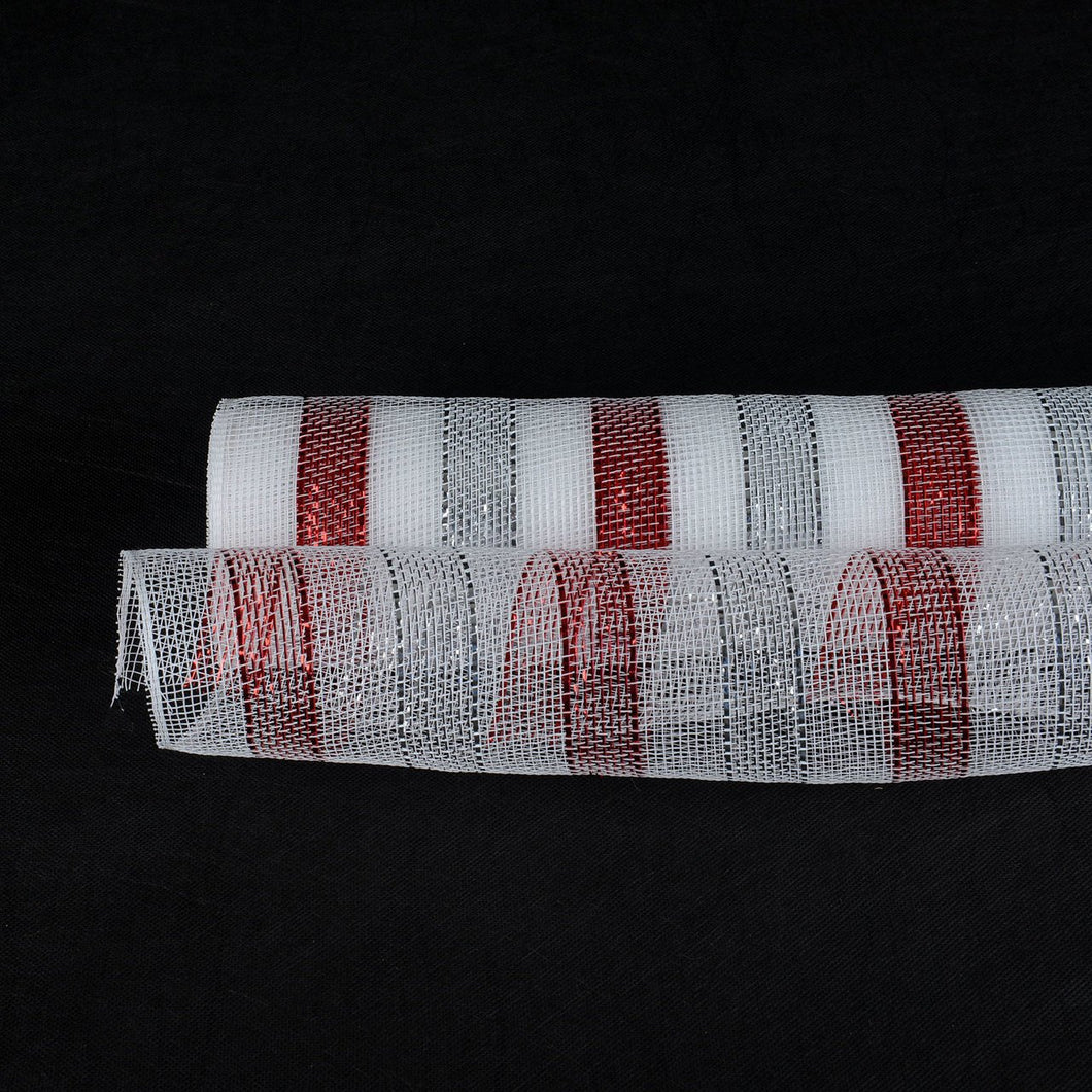 White Silver Red - Multicolor Metallic Deco Mesh Wrap -  ( 21 Inch x 10 Yards )