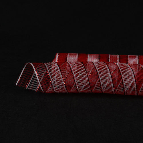New White with Red  - Poly Deco Mesh Wrap with Laser Mono Stripe -  ( 21 Inch x 10 Yards )