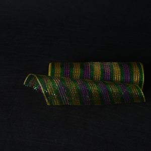 Mardi Gras Eyelash  - Poly Deco Mesh Wrap with Laser Mono Stripe -  ( 10 Inch x 10 Yards )