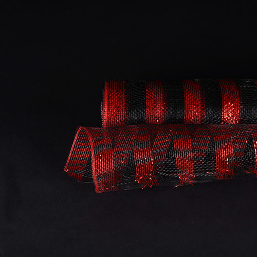 Red with Black - Poly Deco Mesh Wrap with Laser Mono Stripe - ( 21 Inch x 10 Yards )