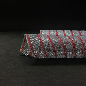 Silver with Red Lines  - Holiday Floral Mesh Wraps -  ( 21 Inch x 10 Yards )