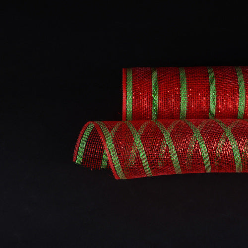 Red with Emerald Lines  - Holiday Floral Mesh Wraps -  ( 21 Inch x 10 Yards )