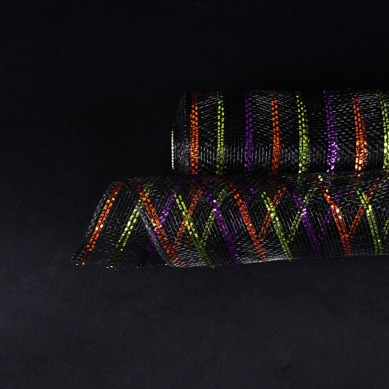Black with Multi Color Lines  - Holiday Floral Mesh Wraps -  ( 21 Inch x 10 Yards )
