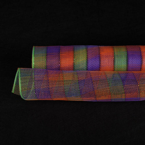 Halloween  - Poly Deco Mesh Wrap with Laser Mono Stripe -  ( 21 Inch x 10 Yards )
